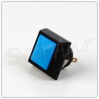 Pulsante Alluminio Quadrato 12mm Azzurro-Nero